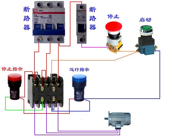 求一个用交流接触器控制电机的实物接线图,这个接线图