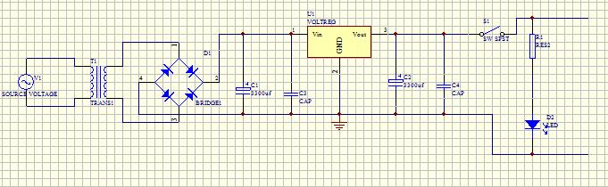 5v稳压电源原理图中的整流二极管,变压器,三端稳压器