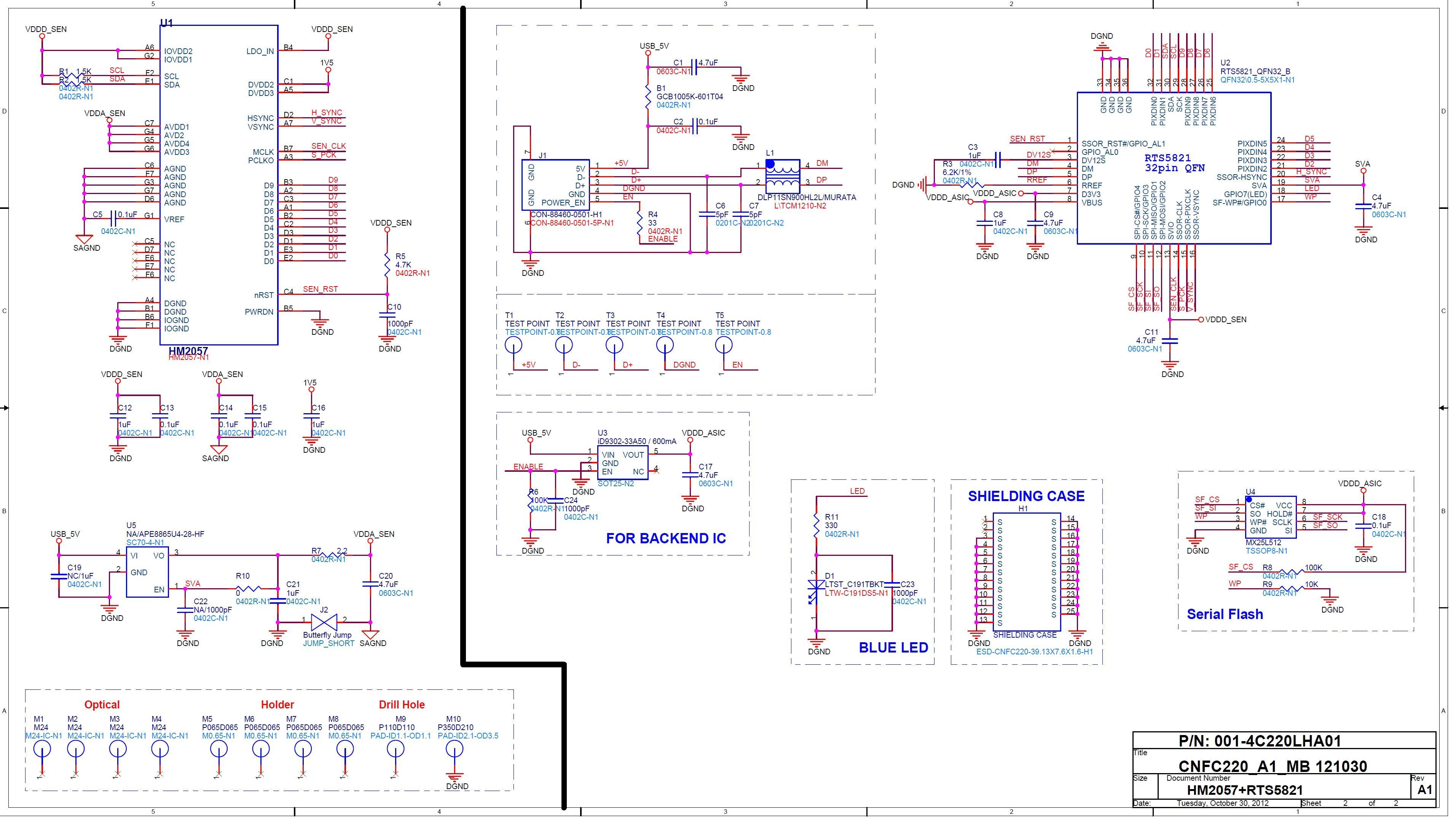 10 这电路比较简单! u1 (ht2057)是一个coms 图像传感器(bga封装).