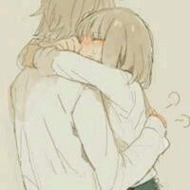 动漫头像,女生短发白色衬衫抱着男生【同白色衬衫】的图片
