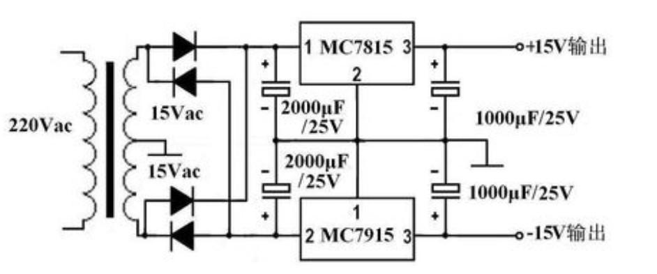 这就是我的电路,双交流是双18v,已经在整流电路后面的正负极上接了点