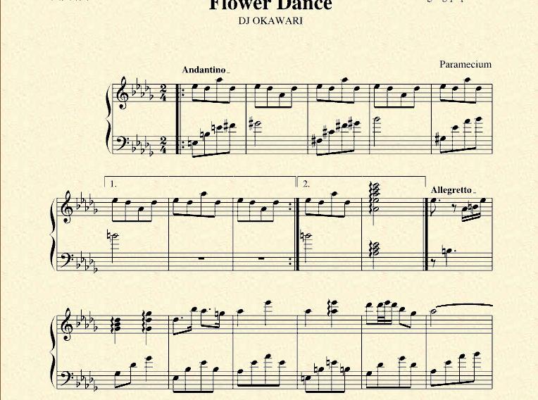 求钢琴曲flower dance五线谱及mp3文件