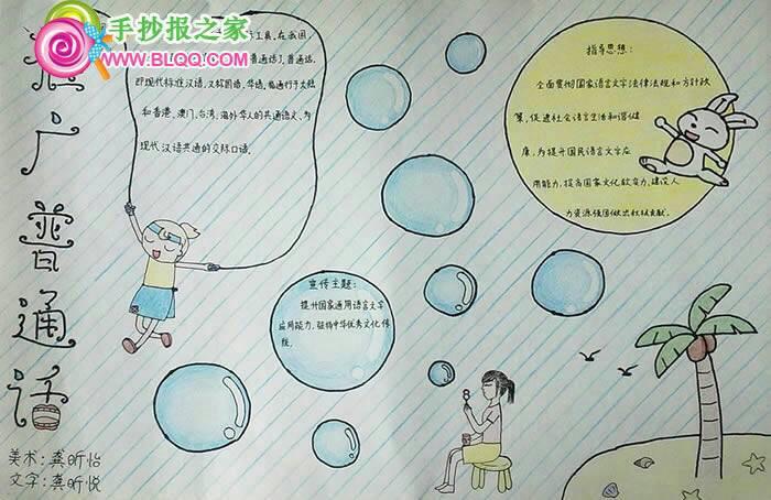 小学生手抄报,讲普通话用文明语言,要求图文图片