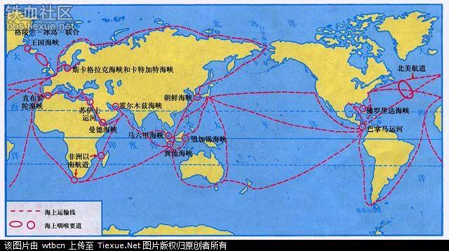 标有全部重要海峡运河岛屿半岛群岛的世界地图图片