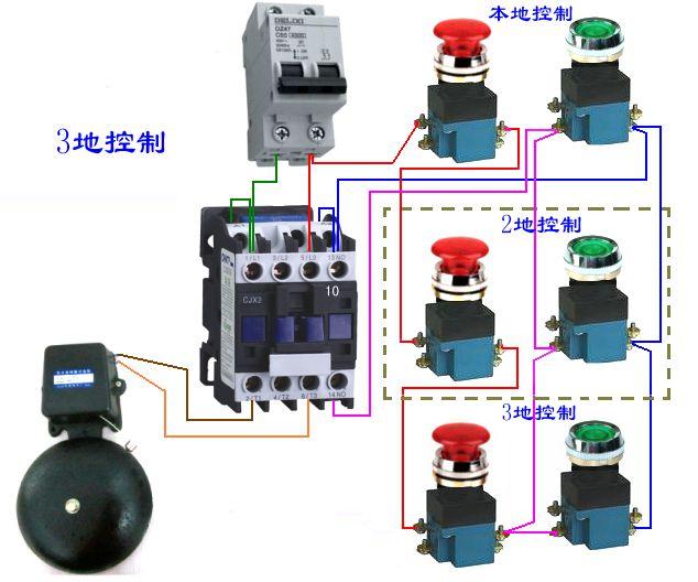 三个复合按钮和一个接触器控制一个电铃