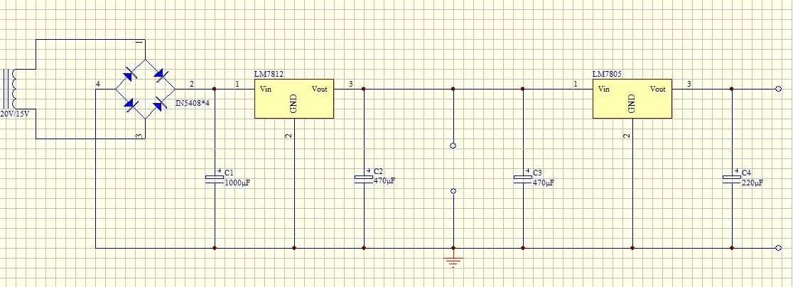 220v转12v稳压电源电路图