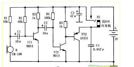 使用小功率晶体三极管,电阻,电容等器件设计一个信号放大器