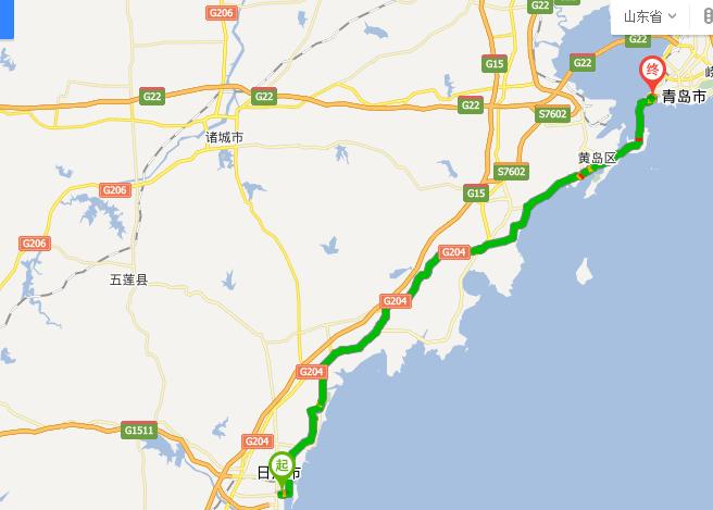 日照市东港区上海路到青岛火车站还有多远?