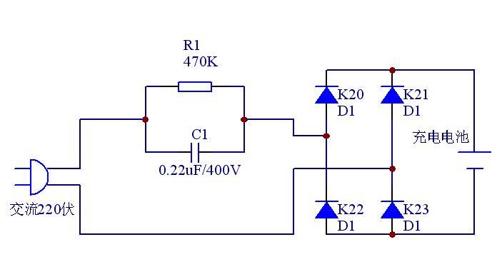 将220伏交流电经电容降压,再经4只1n4007整流二极管组成的桥式整流后图片