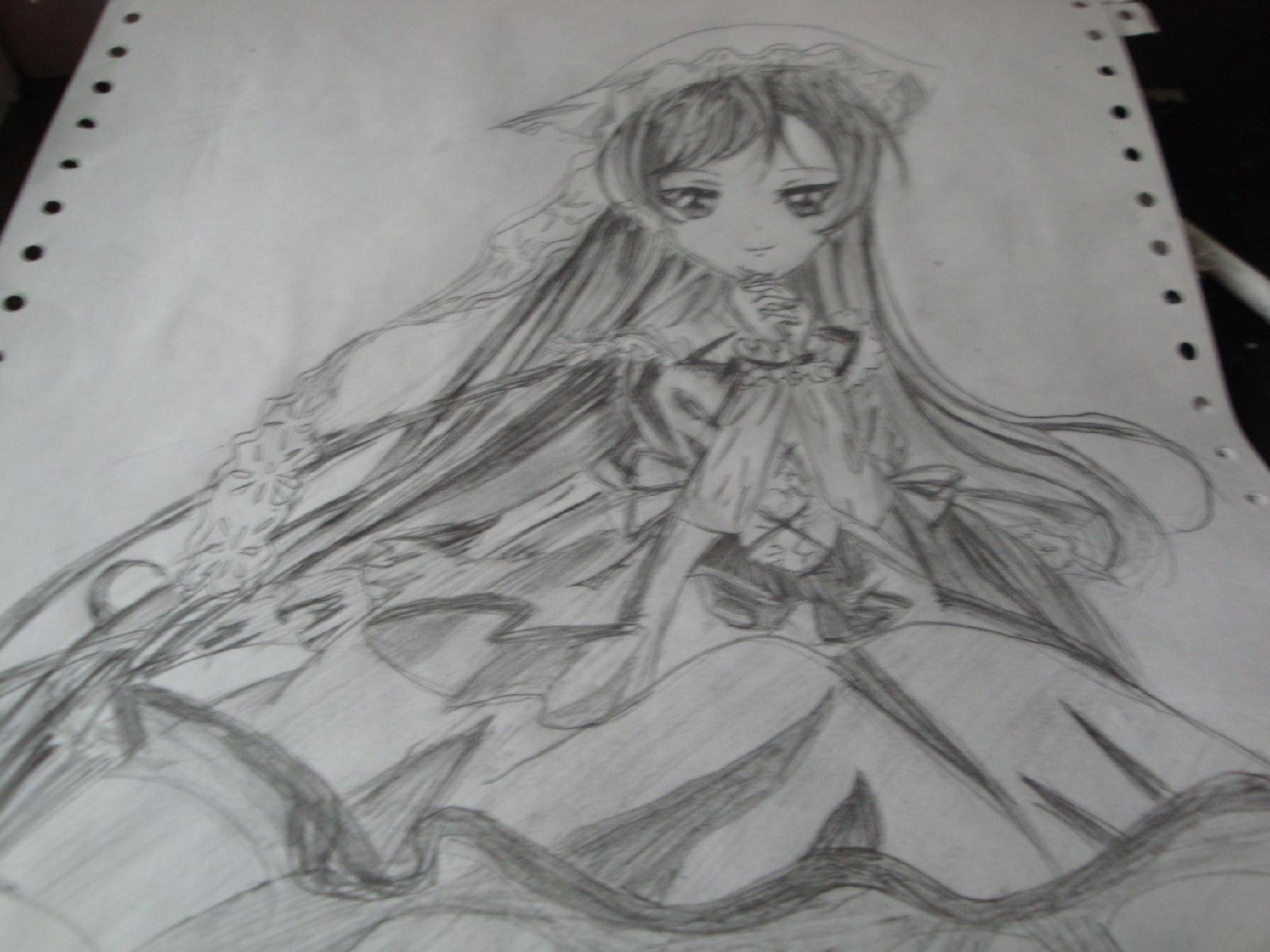 漫画女生手绘 铅笔