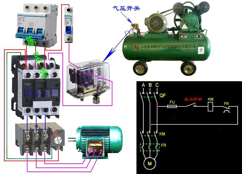 空压机磁力起动器电源接线原理及接线