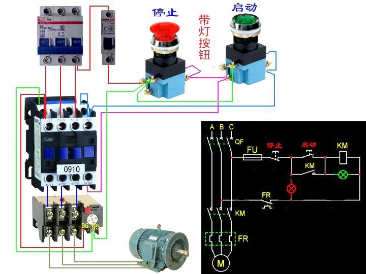 一个交流接触器与一个热继电器,一个自锁按钮怎么连接