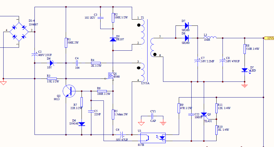 求现成开关电源220v转12v的原理图,最好是成熟在使用的方案,应为要