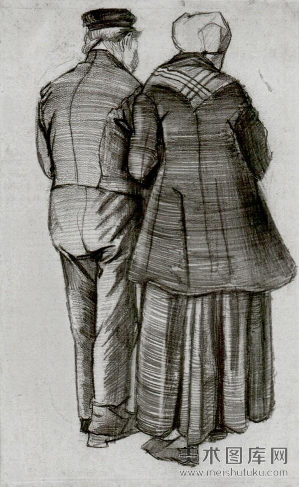 黑白素描画——两个老人的背影