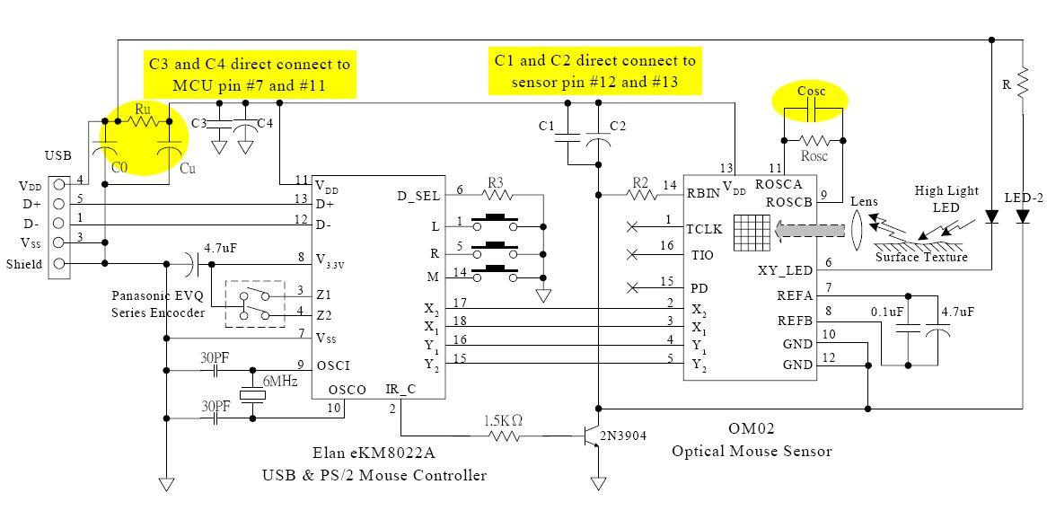 鼠标电路图及内部单片机控制代码(急)