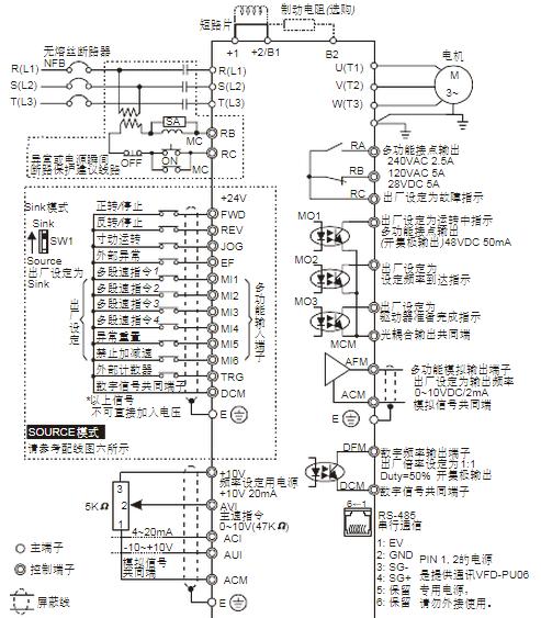 一,台达vfd-b系列变频器接线原理图: 二,台达vfd-b系列变频器接电位器
