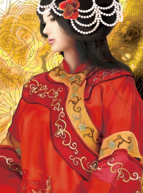 找几张中国古装新娘动漫图片 最好是侧面的啊