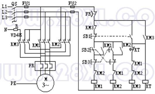 能实现电动机正反转,和半波整流能耗制动控制的线路图