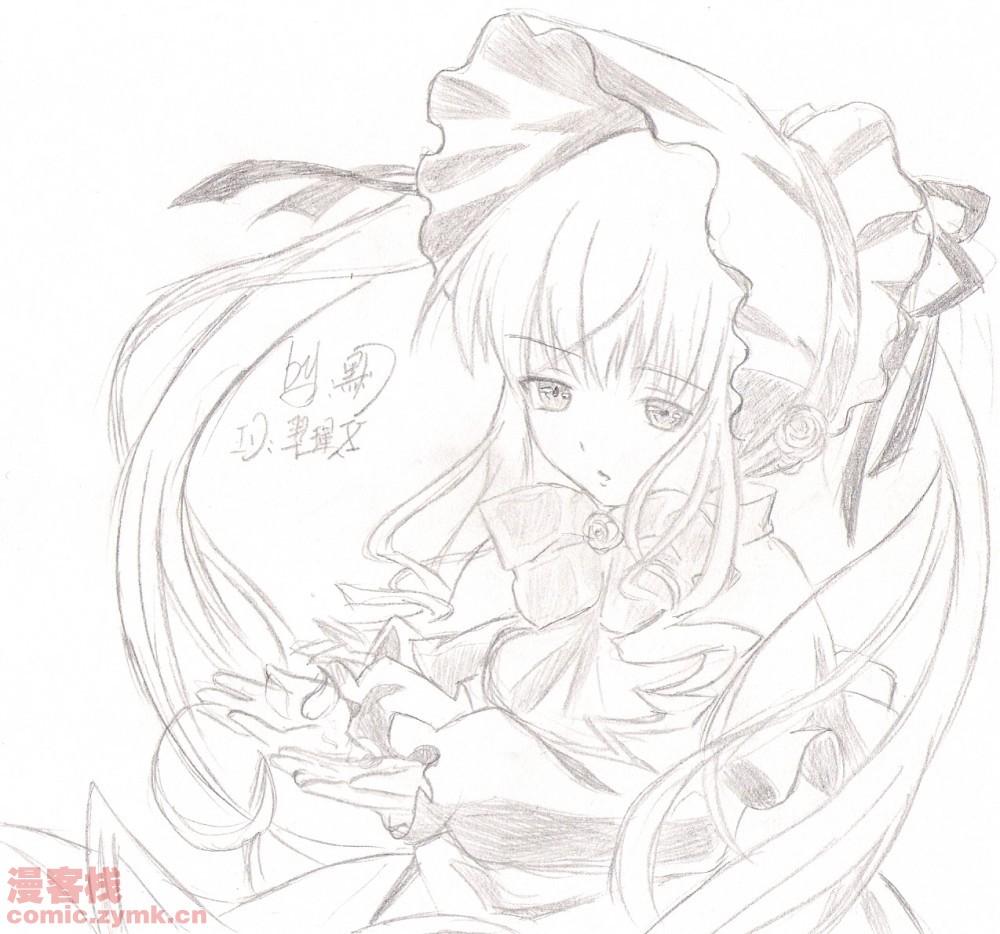 蔷薇少女简单可爱手绘