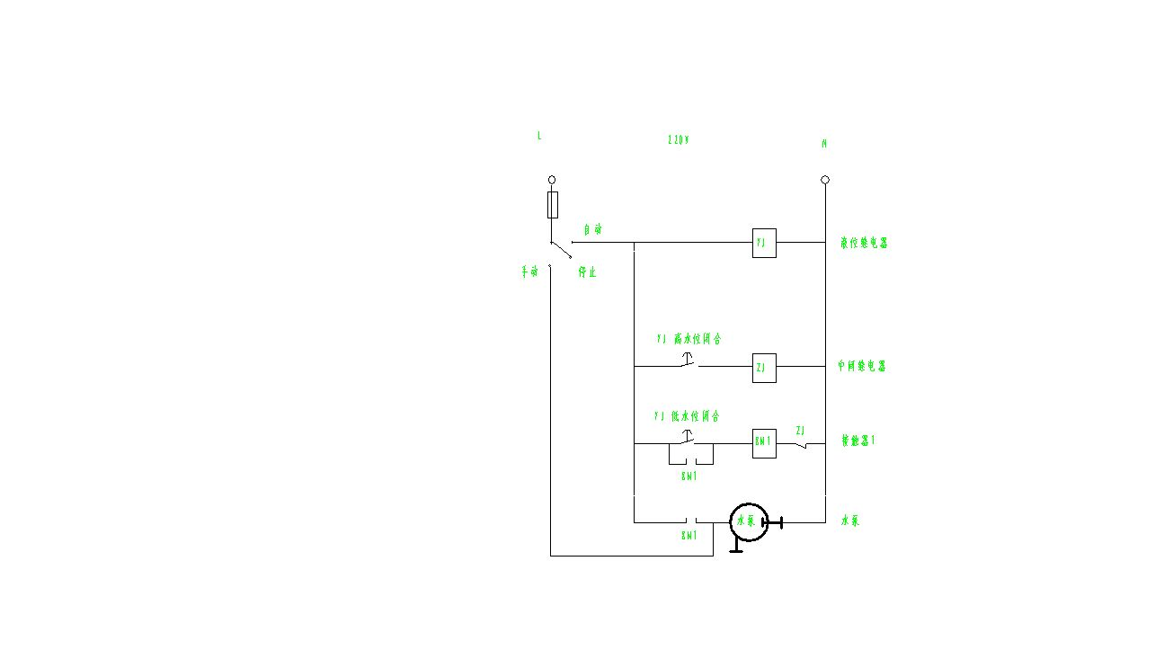 220v接触器和220v液位继电器3位开关220v水泵接线图