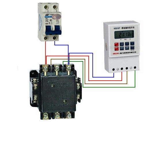电工师傅您好,求一个cjt1-20交流接触器,kg316t微电脑时控开关的接线