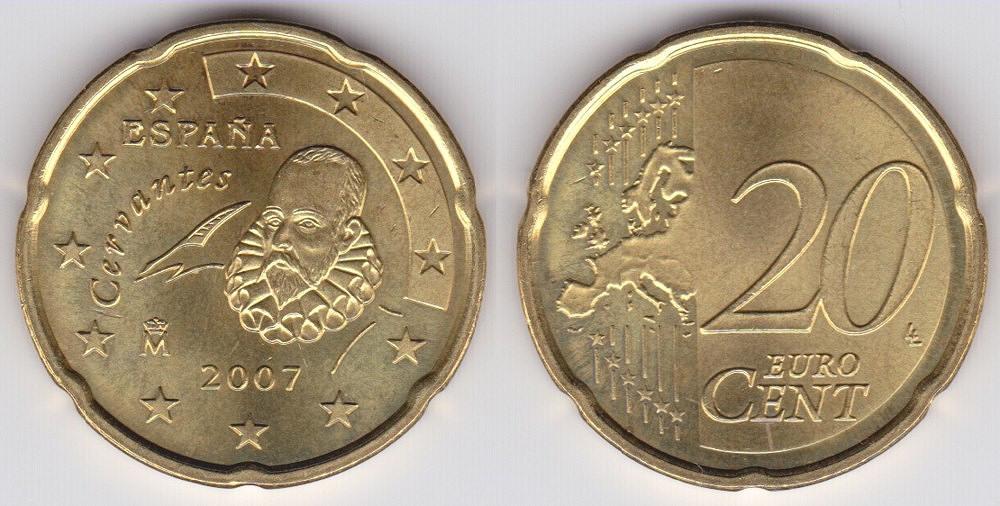 硬币正面是欧盟地图,背面是西班牙作家塞万提斯.图片