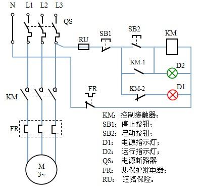 交流接触器和热继电器加启动停止按钮和2个指示灯(380