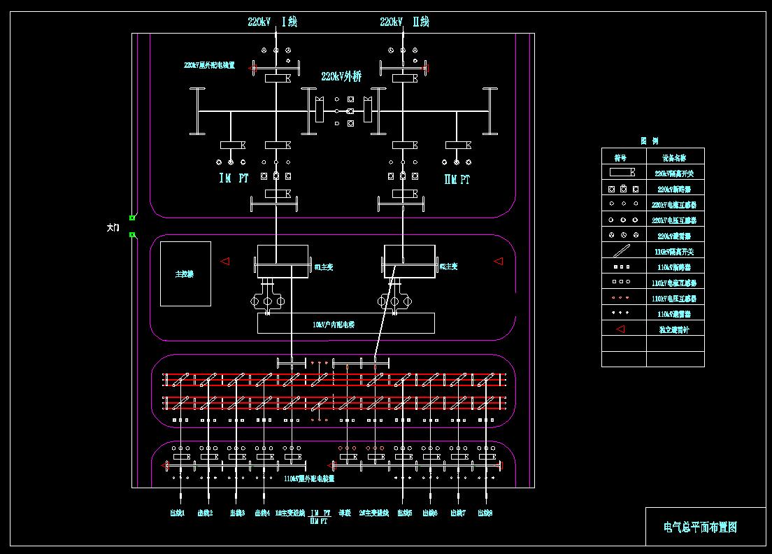 跪求220kv侧采用内桥接线,110kv侧采用双母接线,10kv侧采用単母分段