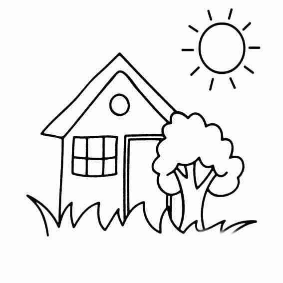 关于树木,房子,太阳,动物草组成的幼儿主题简笔画