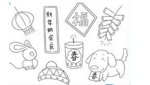 春节对联手抄报简笔画