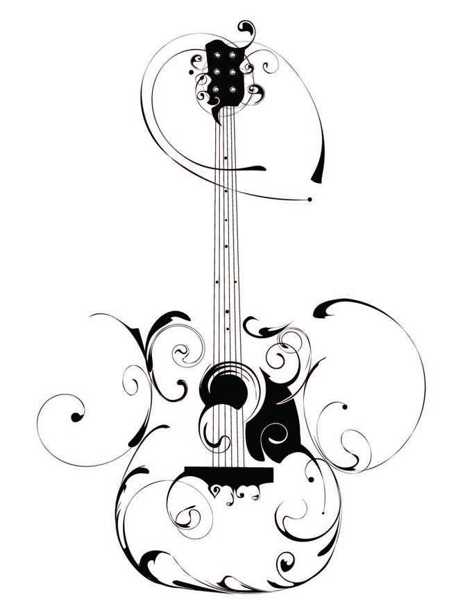 电吉他手绘图案