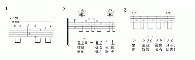 怎么看吉他谱六线谱图片