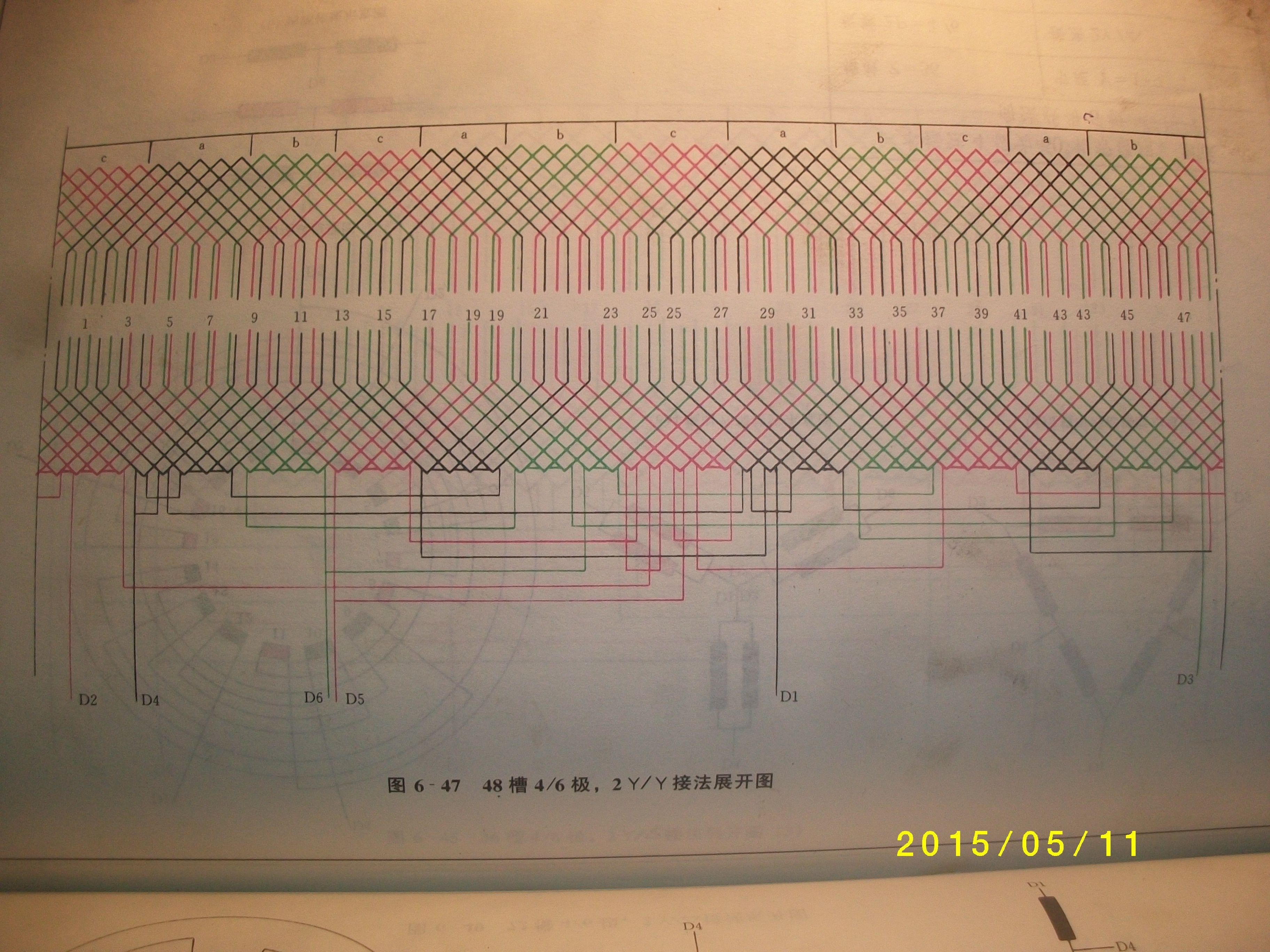 48槽6/4极接线图三角形2y