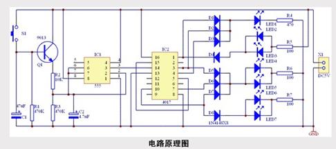 70 电路说明本电路由555组成的多谐振荡器和cd4017十进制计数器/脉冲