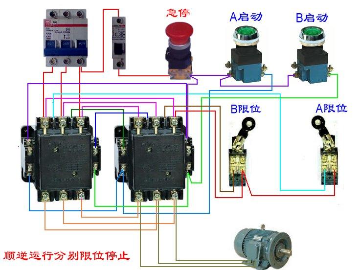 三相电机两个接触器两个行程开关,三个按钮开关接线图