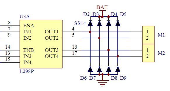 用专用的电机控制芯片l298p 整流二极管,io口控制电机正反转,l298p是