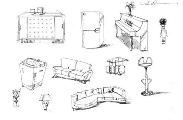 家具线稿三视图手绘