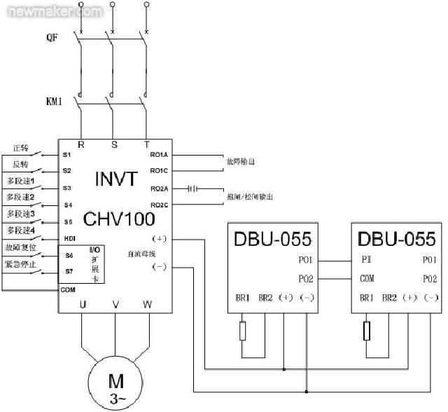 跪求通用变频器控制三相异步电动机调速控制电路图,急