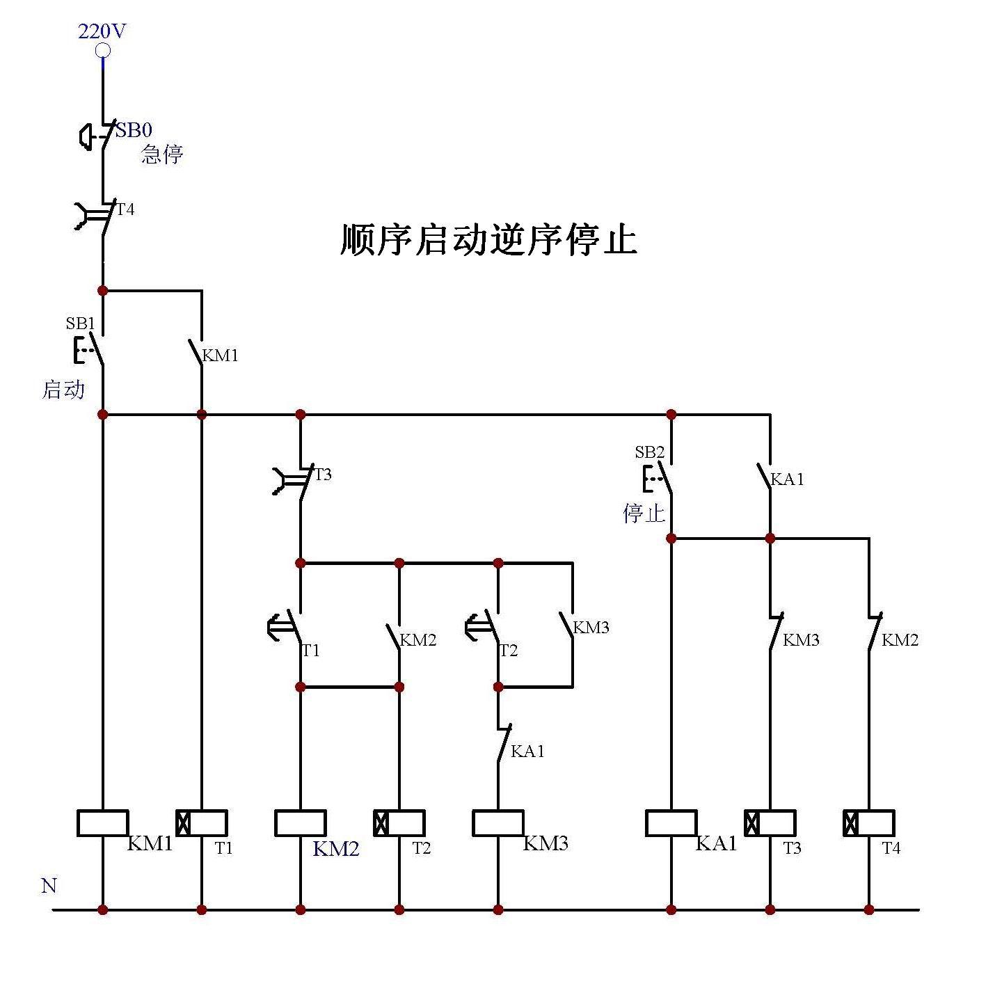 皮带顺序启动逆序停止 两个按钮 四个时间继电器 三个接触器 求电路图