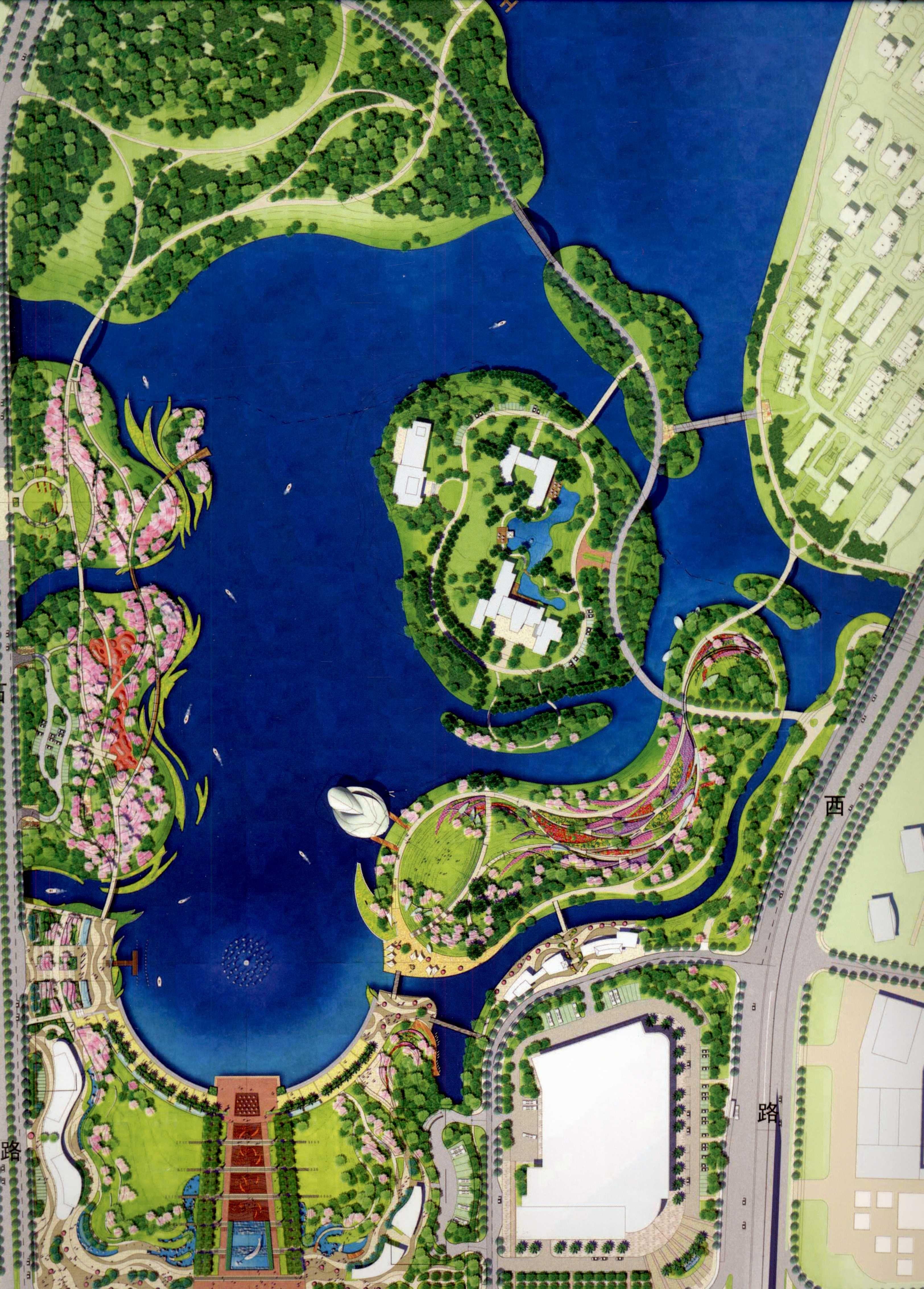 这个园林景观平面图的水怎么做的请问?