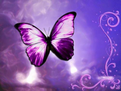 紫色手绘女孩图片唯美