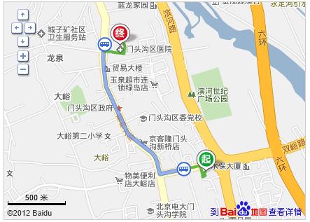 北京市门头沟区双峪环岛西口到区人民医院公交线路