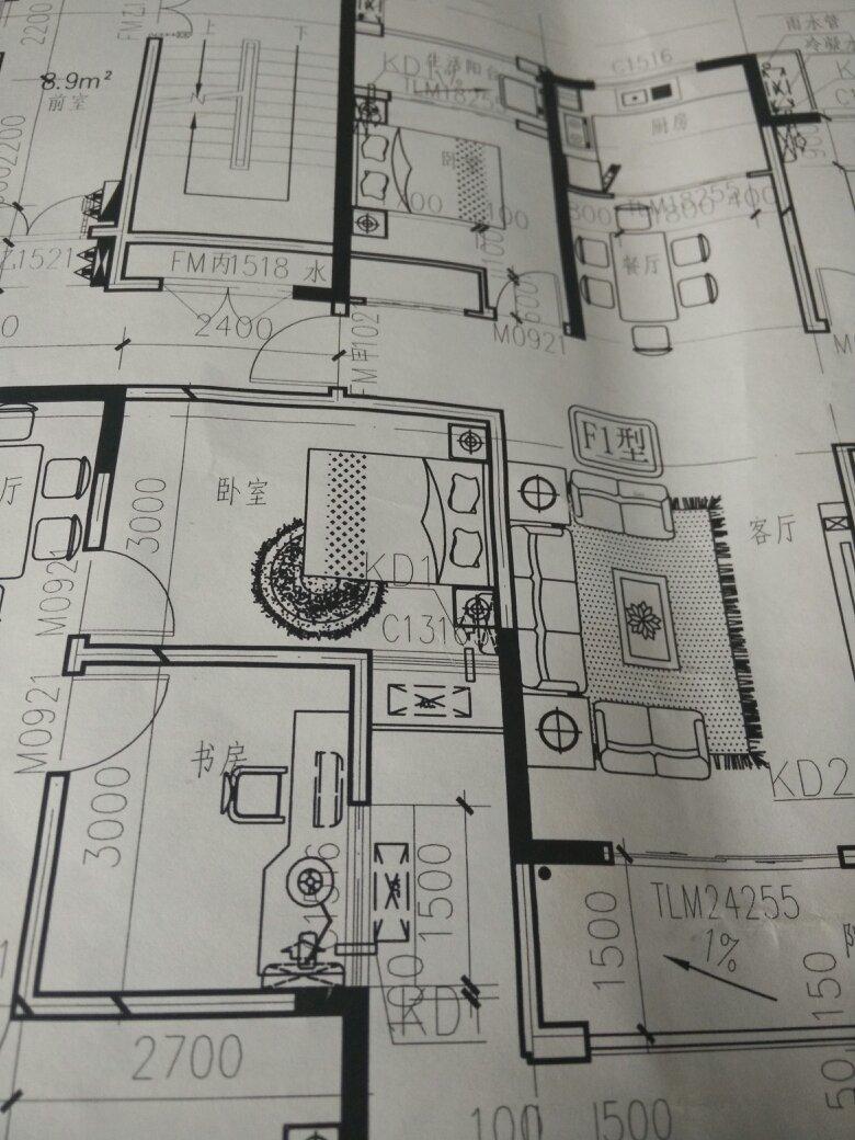 8x15如图三面采光求设计三室两厅一厨两厕套房图片