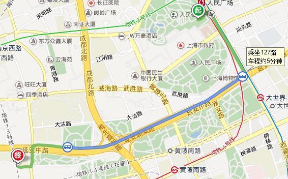 上海人民广场地铁站到巨鹿路242号有多远?