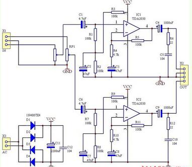 2030音箱功放集成电路,是输出14w大功率电路,给你由2个2030组成的双