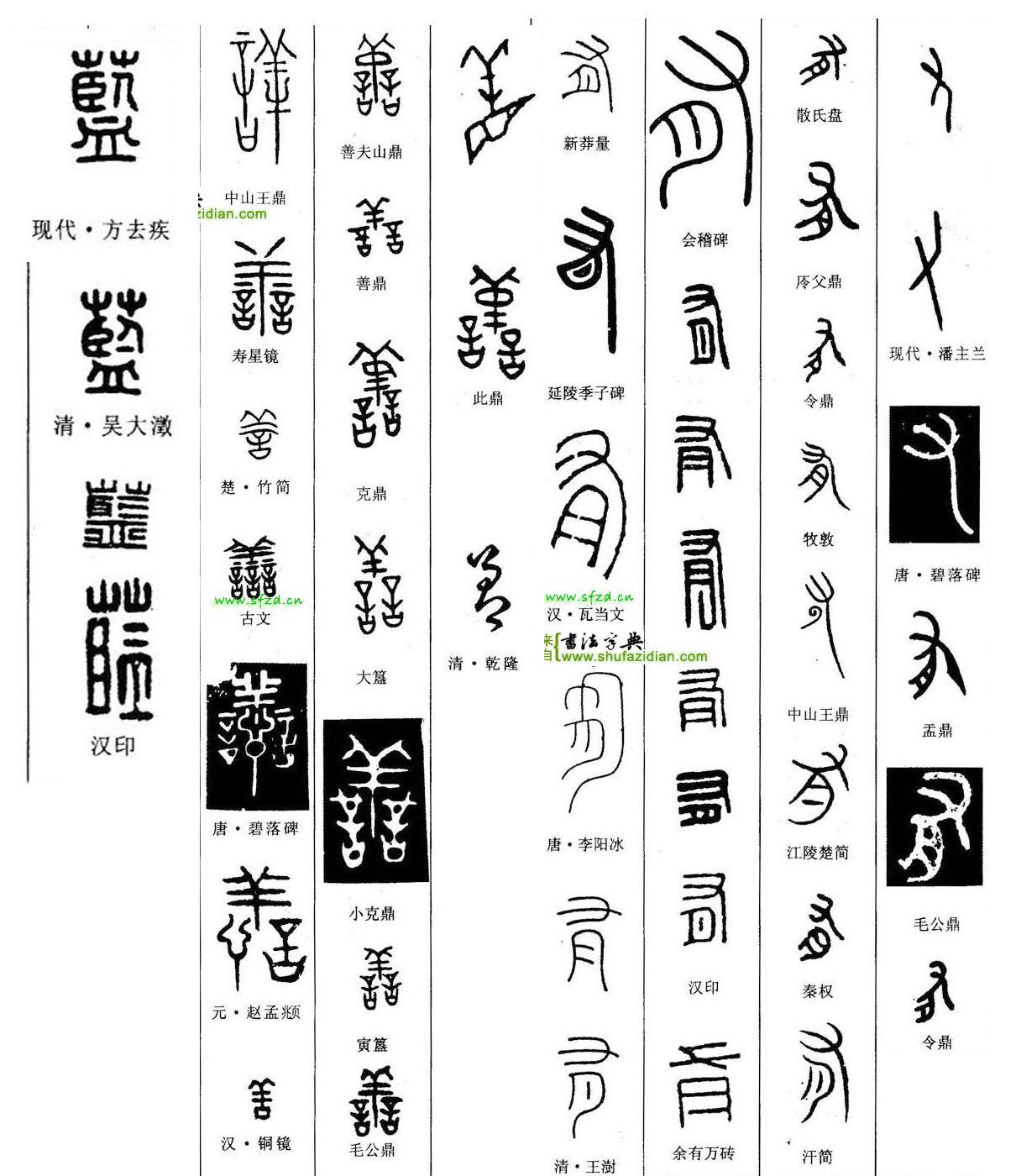 [蓝善有]三个字历代书家篆书案例仅供参考.见图