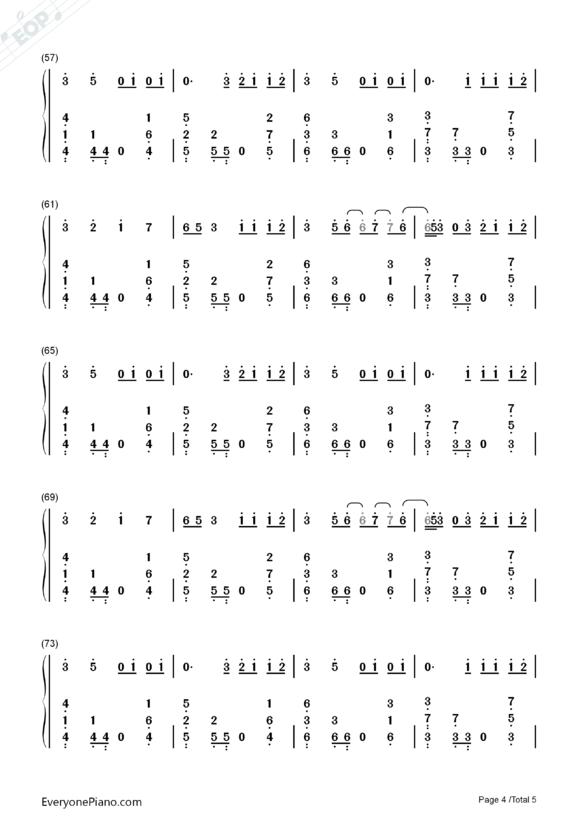 eiei的钢琴简谱,要数字的,求求你们了,快点!