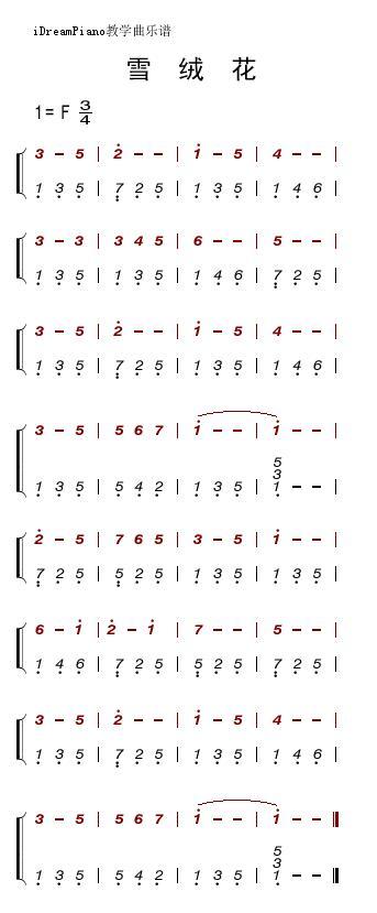 最简单的数字钢琴谱