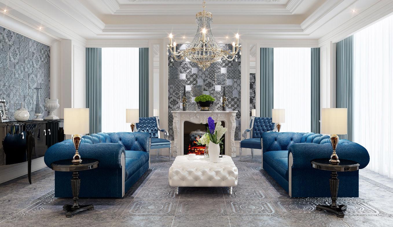 欧式风格的客厅,装修用伊派瓷砖的新古堡系列,效果会好看吗?