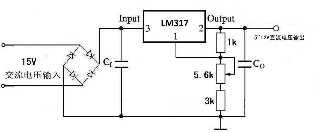 采用lm317三端稳压器设计一个直流稳压电源